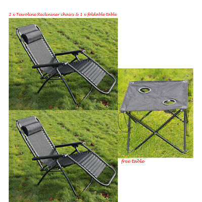 TEXTOLIN GARDEN CHAIR SET 2 PC  OUTDOOR RECLINING FURNITURE FREE FOLDING TABLE