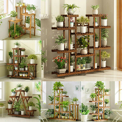 Multi Tier Pine Wood Flower Rack Shelf Plant Stand Planter Garden Outdoor Indoor Outdoor Shelf Stand