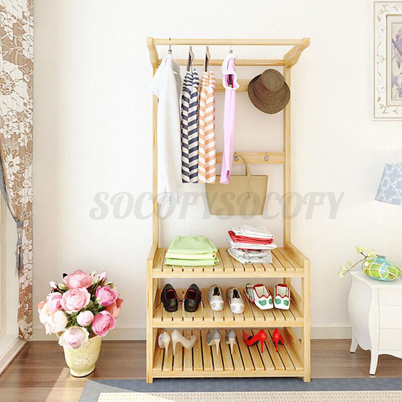 Wooden Garment Hanger Shoe Rack Clothes Storage Stand Coat Bag Hat Shelf