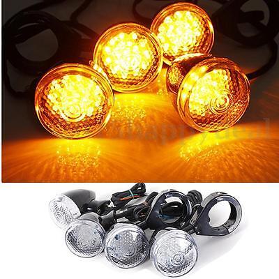 4 Universal Black Front Rear Motorcycle LED Turn Signal Light Indicator Lamp Kit