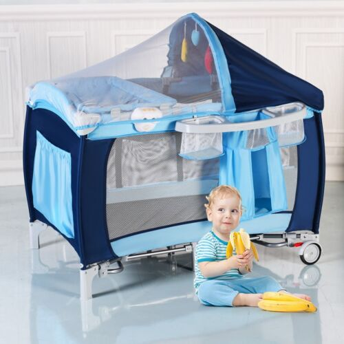 Folding Home Travel Baby Crib Playpen with Mosquito Net and