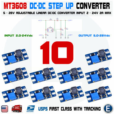 10pcs Mt3608 Dc 2a Step Up Power Booster Module 2v-24v Boost Converter Arduino