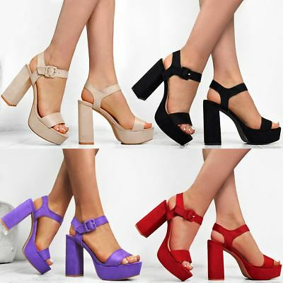 Womens Ladies Block High Heels Ankle Strap Open Toe Sexy Sandals Platforms Size Strap Sexy High Heels