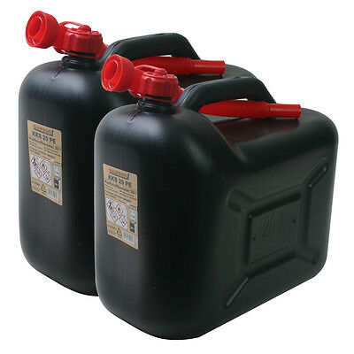 2x Benzinkanister 20 Liter SCHWARZ Benzin-Kanister Diesel 20L Kraftstoffkanister