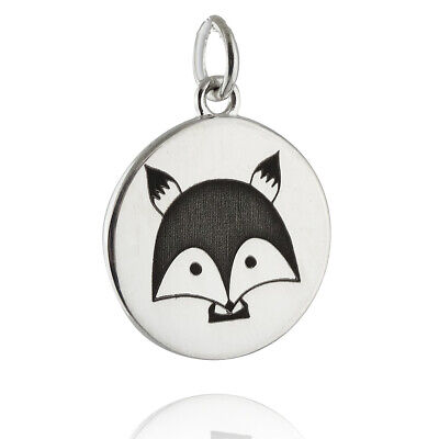 Engraved Fox Charm - 925 Sterling Silver - Foxes Wild Animal Woodland Creature