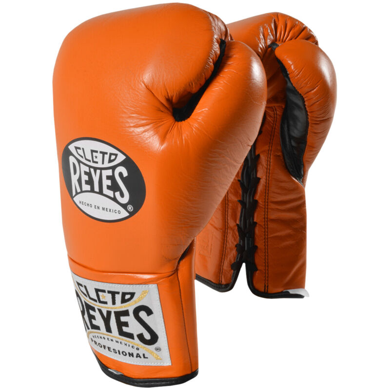 Cleto Reyes Official Lace Up Competition Boxing Gloves - Tiger Orange
