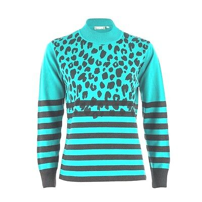 Rabe 1920 Leopard Stripe Print Jumper - Pale Green Ladies UK Size 12 Box65 08 G