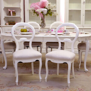 Shabby Cottage Chic French Vintage Style Set 6 Dining Chairs Cream Linen Whit