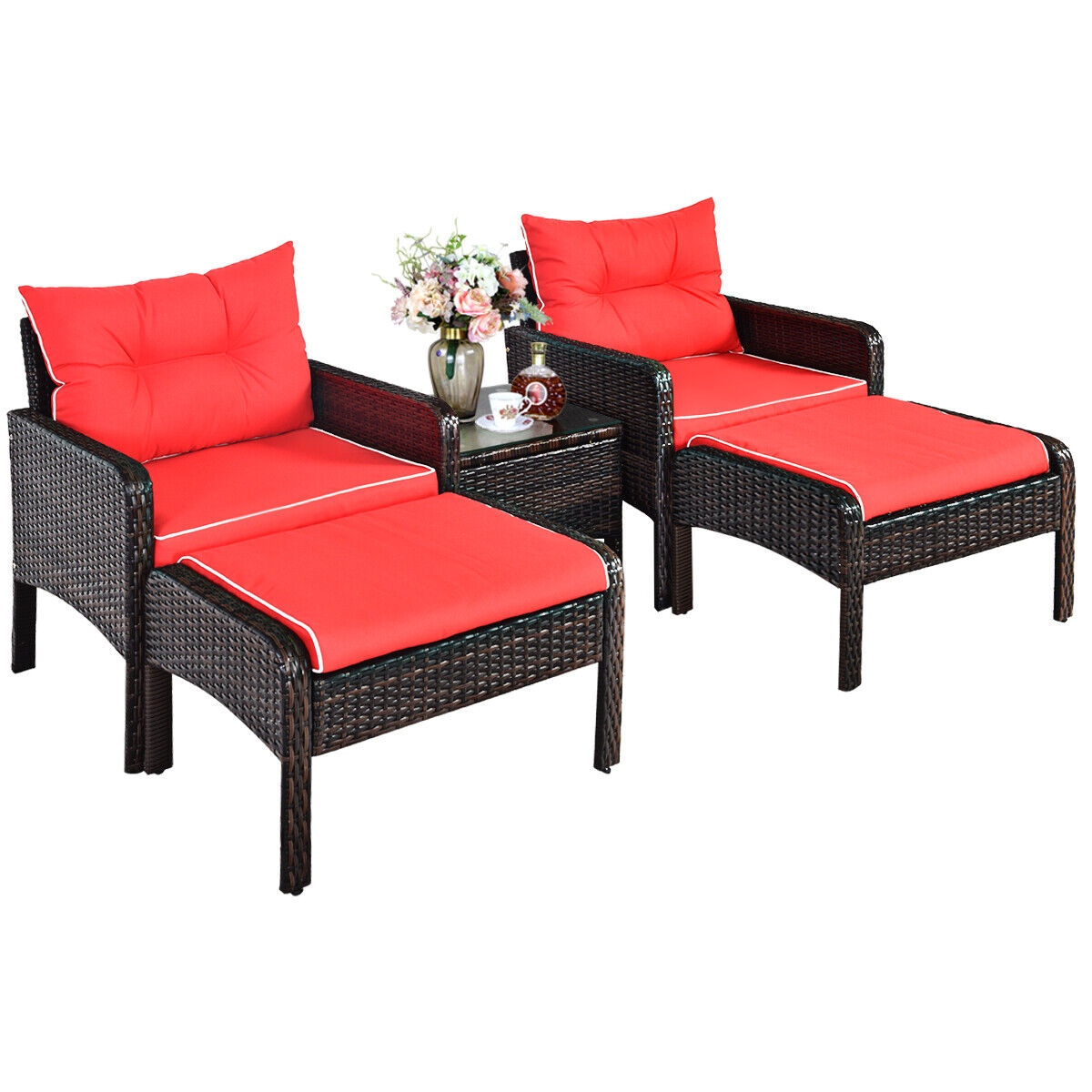 Garden Furniture - 5PCS Rattan Wicker Garden Furniture Set Chairs Ottoman Coffee Table Red Cushion