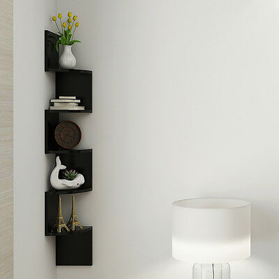 Corner Shelf 5 Tier Wall Mount Unit Home Floating Storage Zig Zag Shelves Black