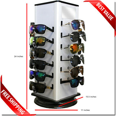 Sunglass Rack Display Counter Display Holds 24 Pcs With Mirror And Spinning