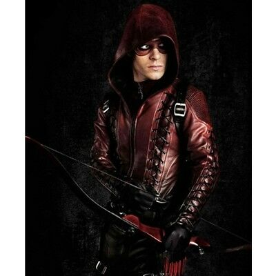 Colton Haynes Halloween (Arrow Arsenal Red Colton Haynes Hooded Leather Jacket - Halloween)