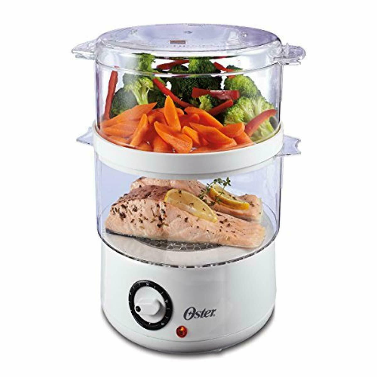 Oster Double Tiered White Food Steamer 5 Quart CKSTSTMD5-W