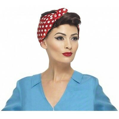 Rosie The Riveter Costume Wig Adult 40s WW2 Halloween Fancy Dress (Rosie The Riveter Costume Halloween)