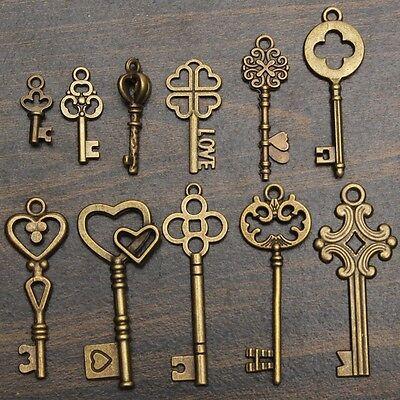 11Pcs/Set Antique Vintage Old Look Skeleton Keys Bronze Steampunk Pendants @