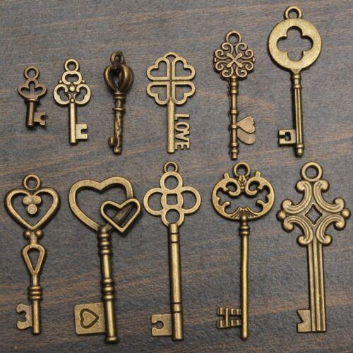 11Pcs/Set Antique Vintage Old Look Skeleton Keys Bronze Steampunk Pendants
