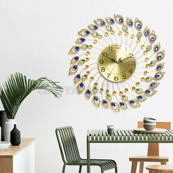 24 Large Wall Clock 3D Modern Luxury Gold Metal Big Watch Living Room Decor USA
