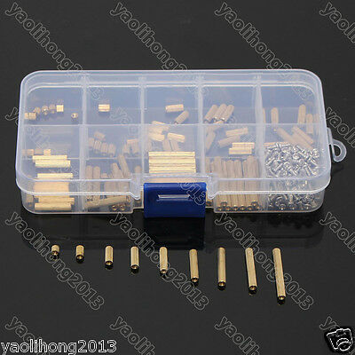 M2 3-25mm Female to Female Brass Standoff Spacer Screw Nut Assortment Kit
