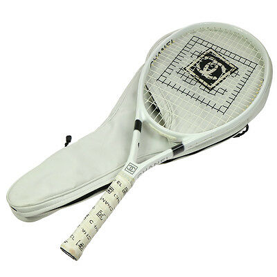 ULTRA RARE!! Authentic CHANEL CC Logos Tennis Racket and Carry Bag White V14728