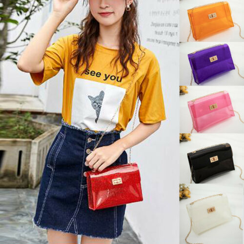Women Transparent PVC Handbag Shoulder Bag Clear Jelly Purse
