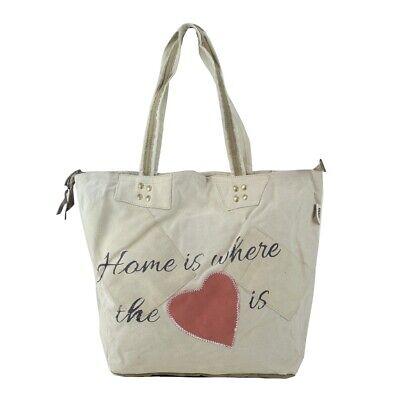 Sunsa Upcycling Shopper mit Herz, Tasche Strandtasche Canvastasche Beige (Canvas Strand Tasche)
