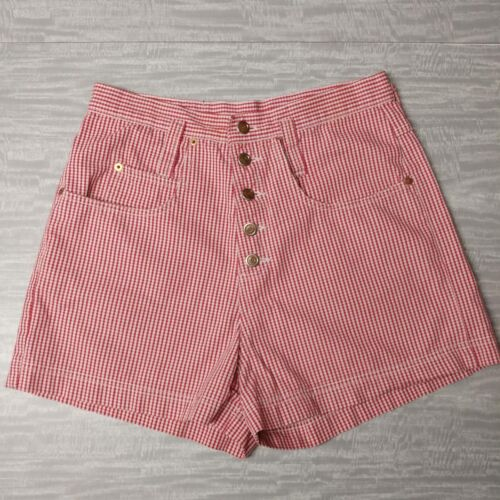 high waisted mom shorts vtg L.E.I. red white checked M button fly 90