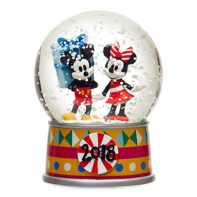 (Disney Store Mickey and Minnie Mouse Christmas Holiday Snowglobe 2018 New)
