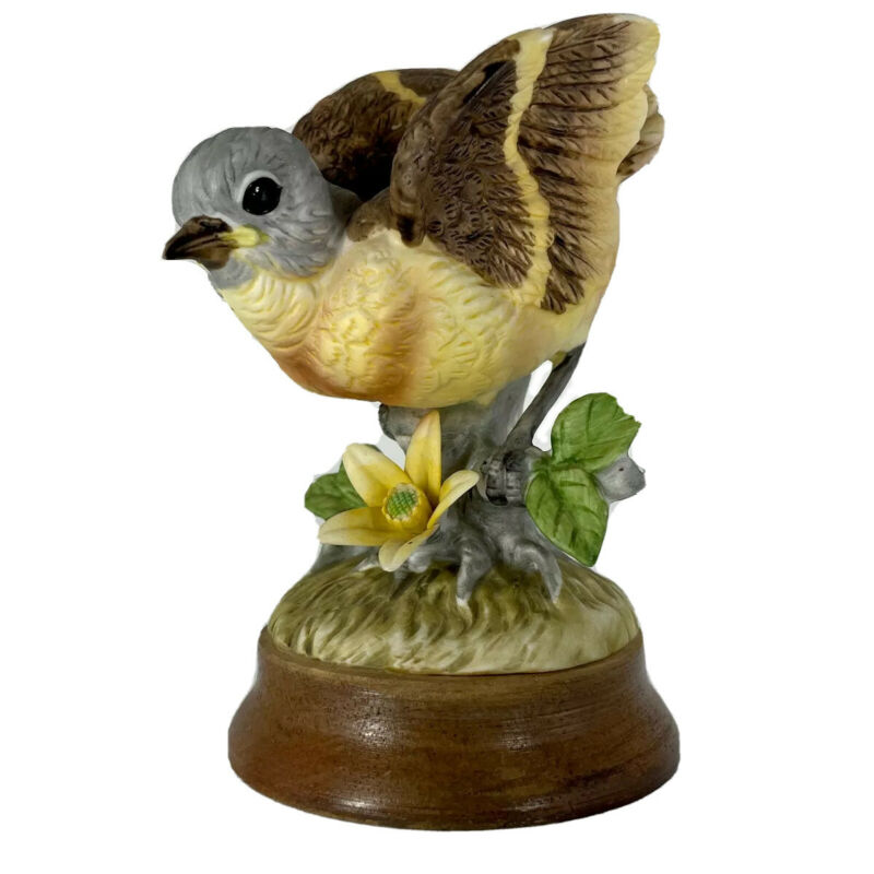 Gold Finch Golden Porcelain Bird Yellow Flower Blossom Figurine China Decoration