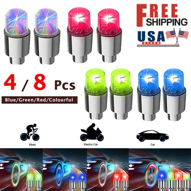 8 x LED Wheel Tyre Tire Valve Caps Neon Light Lamp Multicolor Bulb for Bike Car