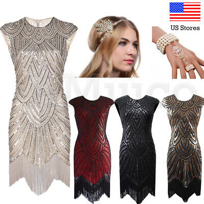 1920s Flapper Dress Great Gatsby Sequins Art Deco Fringe Party Dresses Plus Size - 1920s Apparel