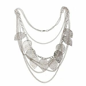 Statement Multilayer Leaf Charms Necklace Silver Boho Long Sweater Chain Pendant