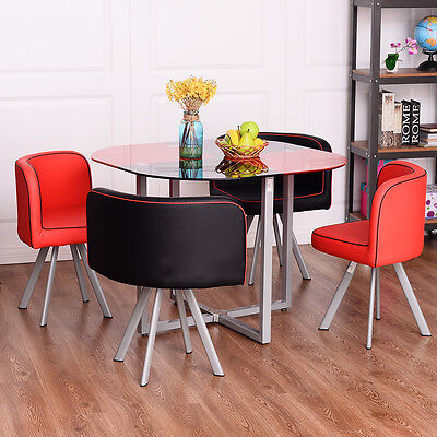 5 Pcs Dining Set Tempered Glass Table and 4 Chairs Kitchen Breakfast Black&Red