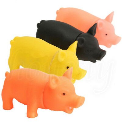 Rubber Pig Grunting Animal Squeaky Dog Pet Chew Fetch Play Kids Toy Squeak Gift (Rubber Pig)