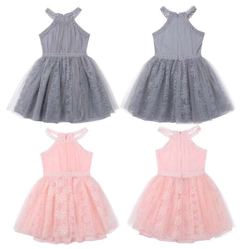 Girls Bridesmaid Dress Baby Flower Kids Party Lace Wedding Dresses Princess Prom