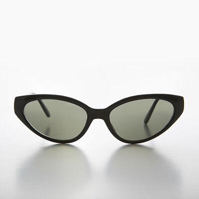 Extreme Schwarz Cat Eye 90s Vintage Sonnenbrille mit Grün Linse - Alexa