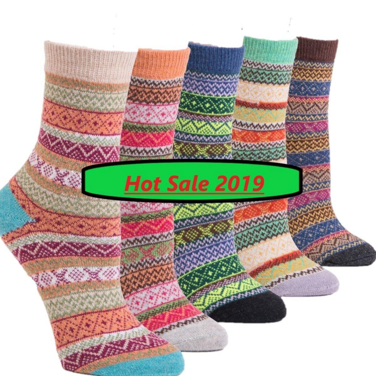 Bunte Socken   Vintage Damen Wintersocken   Frauen Wollsocken Damensocken  5er