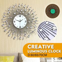 "3D Large 24"" Lighted Wall Clock Quartz Luminous umber ight Light Room   ❤ /"