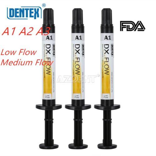 Dentex Dental Flowable Light Cure Composite Resin Low Flow/Medium Flow A1 A2 A3