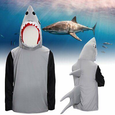 Adult Sand Tiger Shark Attack Costume Animal Jaws Fish Unisex Fancy Dress