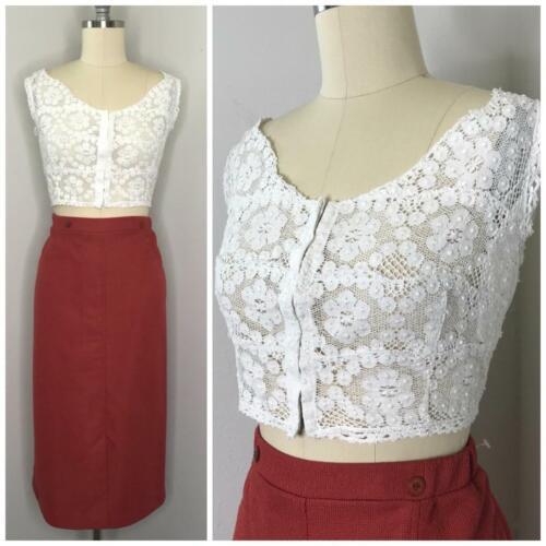 Vintage 60s Lace Bustier Crop Top Size L Large White Off Shoulder VLV Rockabilly
