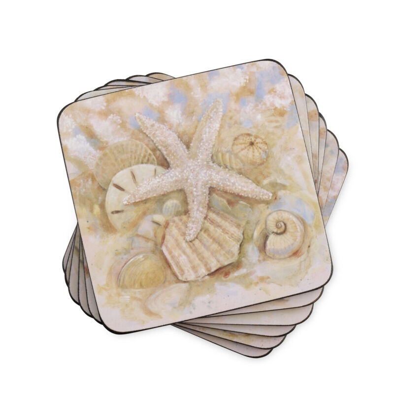 Pimpernel Beach Prize Collection Cork-backed Coasters - Set Of 6