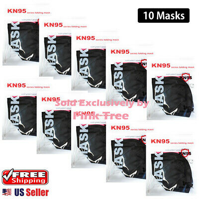 10 Pack Black Kn95 Mask Face Mask 5-layer Protective Respirator