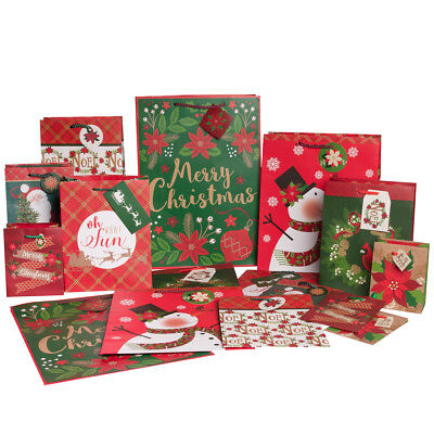 16pk Paper Christmas Gift Bags Bulk Set Assorted Sizes XL Medium Large Holiday - Large Paper Bags
