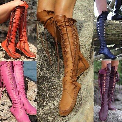 Ladies Knee High Wedge Heel Platform Womens Punk Goth Lace Up Biker Boots (Lace Up Knee High Flat Heel Boots)