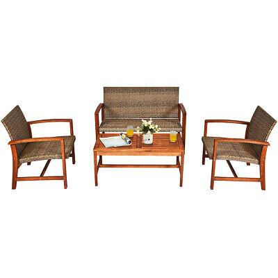 Garden Furniture - 4PCS Outdoor Patio Rattan Furniture Set Acacia Wood Frame Sofa Loveseat Garden