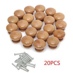 20 X Round Wooden Door Drawer Knobs Cupboard Ceramic Pull Handle Cabinet Kitchen