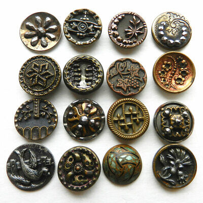 27mm Antique brass picture button with cut steels~basket of flowers~Floral plant life~flower