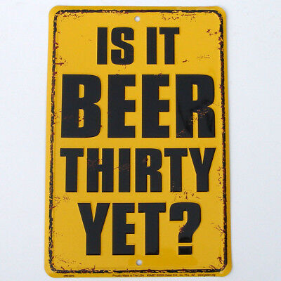 vintage antique happy hour old tin metal pub WALL SIGN new -  IS IT BEER 30 YET?