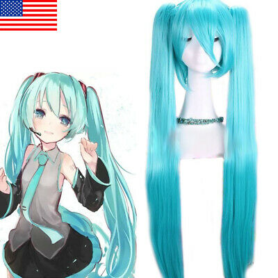 Hatsune Miku Cosplay Wigs Woman Halloween Party Show Hair Long Blue Ponytails](Hatsune Miku Halloween Cosplay)