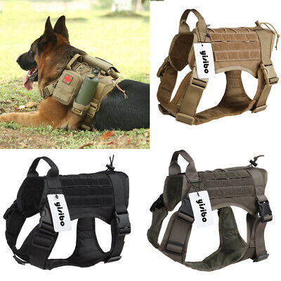 Military Tactical Training K9 Dog Harness Nylon Vest for Police Dogs Large M/L ()